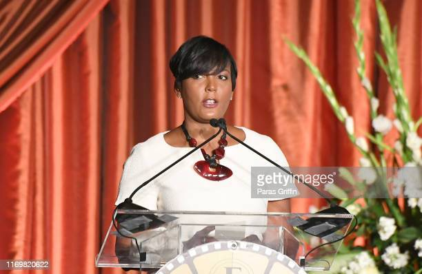 Atlanta mayor Keisha Lance Bottoms speaks onstage during the 10th Annual BronzeLens Film Festival Women Superstars Luncheon on August 23 2019 in...