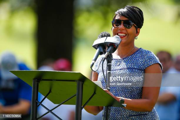 Atlanta Mayor Keisha Lance Bottoms speaks prior to round one of the TOUR Championship at East Lake Golf Club on August 22 2019