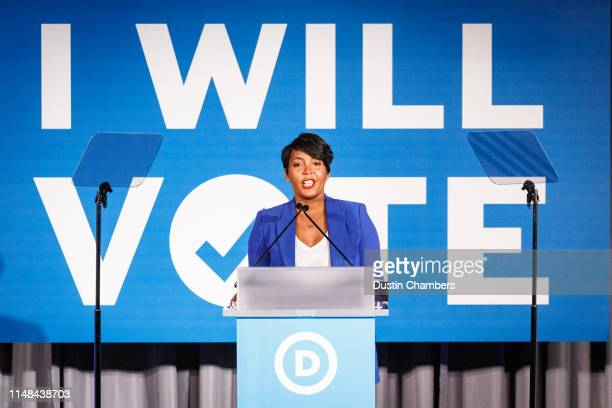 Atlanta Mayor Keisha Lance Bottoms speaks to a crowd at a Democratic National Committee event at Flourish on June 6 2019 in Atlanta Georgia The DNC...