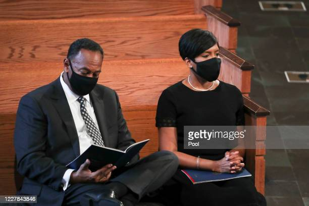 Atlanta mayor Keisha Lance Bottoms with her husband Derek attend the funeral service for the late Rep John Lewis at Ebenezer Baptist Church on July...