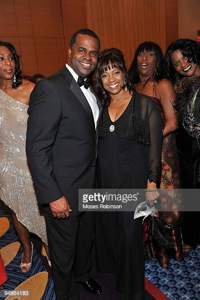Atlanta Mayorelect Kasim Reed and actress BernNadette Stanis attend the 26th anniversary UNCF Mayor's Masked Ball at Atlanta Marriot Marquis on...