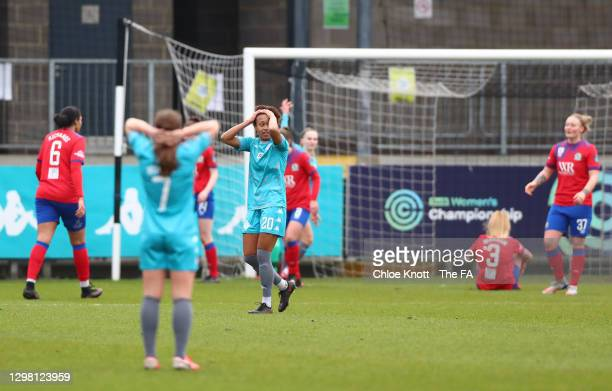 Atlanta Primus of London City Lionesses reacts after a missed chance during the Barclays FA Women's Championship match between London City Lionesses...