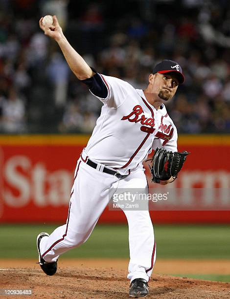 Atlanta relief pitcher Tyler Yates during the game between the Atlanta Braves and the Chicago Cubs at Turner Field in Atlanta Georgia on April 19 2007
