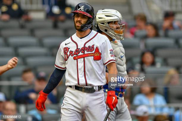 Atlanta shortstop Dansby Swanson reacts after striking out during the MLB game between the New York Mets and the Atlanta Braves on May 17th, 2021 at...