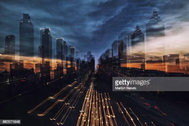 atlanta skyline abstract - atlanta georgia stock pictures, royalty-free photos & images