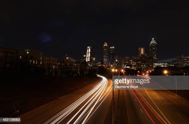 Atlanta skyline at night as photographed from Jackson Street bridge in Atlanta Georgia on NOVEMBER 23 2013