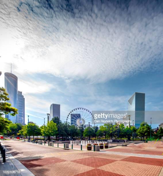 atlanta skyline - centennial park - olympic park venue stock pictures, royalty-free photos & images