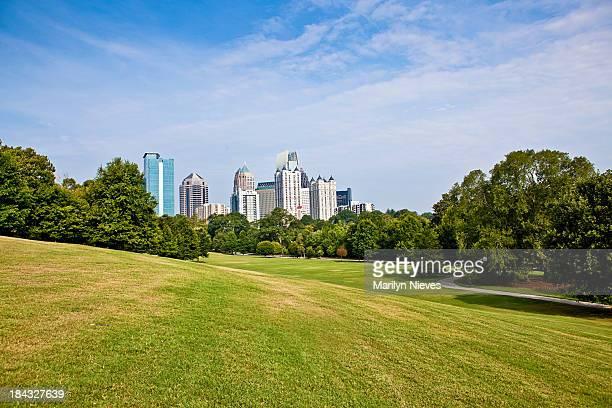 Atlanta skyline over the park