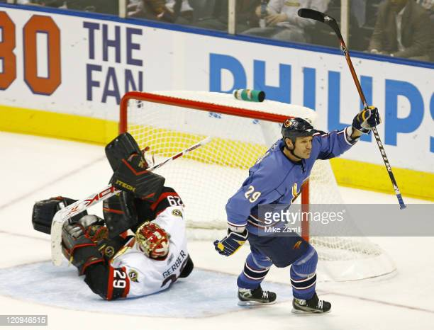 Atlanta Thrashers forward Brad Larsen celebrates his first period goal during the game between the Atlanta Thrashers and the Ottawa Senators at...