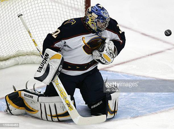 Atlanta Thrashers goaltender Kari Lehtonen makes a save in NHL action vs the Toronto Maple Leafs at the Air Canada Centre in Toronto Canada October...