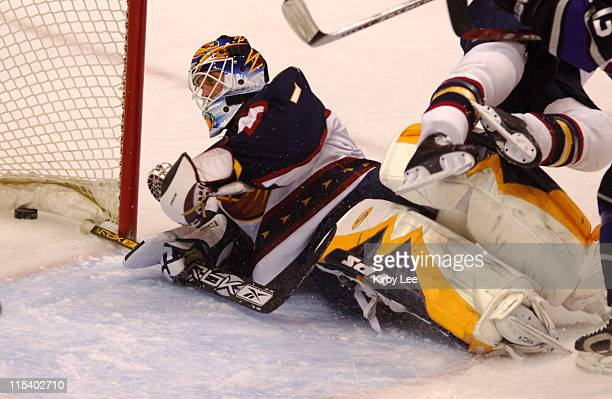 Atlanta Thrashers goaltender Mike Dunham can't stop a shot by Luc Robitaille of the Los Angeles Kings in the first period at the Staples Center in...