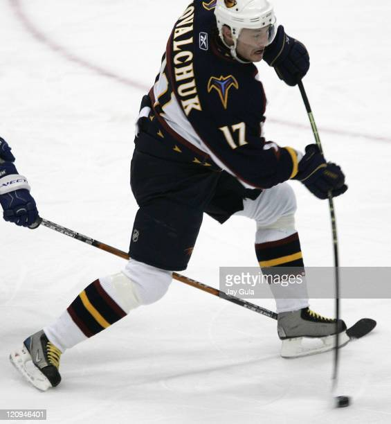 Atlanta Thrashers Ilya Kovalchuk flexes his stick to unleash a shot for a goal vs the Toronto Maple Leafs at the Air Canada Centre in Toronto,...