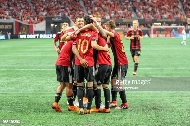Atlanta United celebrate Atlanta United midfielder Miguel Almiron's goal in the second half of a MLS match between the Orlando City and Atlanta...