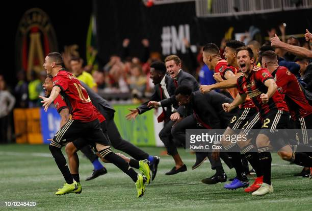 Atlanta United celebrates their 20 win over the Portland Timbers during the 2018 MLS Cup between Atlanta United and the Portland Timbers at...