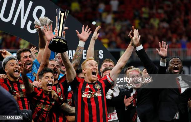 Atlanta United celebrates winning the Campeones Cup 32 between Club America and Atlanta United at MercedesBenz Stadium on August 14 2019 in Atlanta...