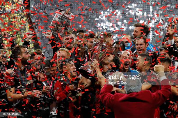 Atlanta United celebrates with the MLS Cup after their 20 over the Portland Timbers during the 2018 MLS Cup between Atlanta United and the Portland...