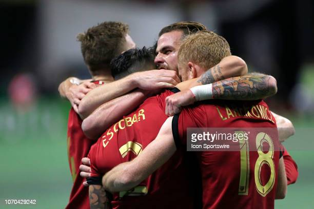 Atlanta United defender Franco Escobar celebrates his goal with his teammates during the MLS Cup between the Atlanta United FC and the Portland...