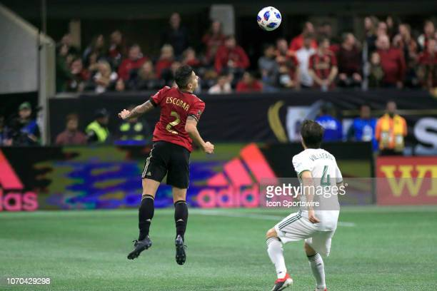 Atlanta United defender Franco Escobar heads the ball during the MLS Cup between the Atlanta United FC and the Portland Timbers on December 8 2018 at...