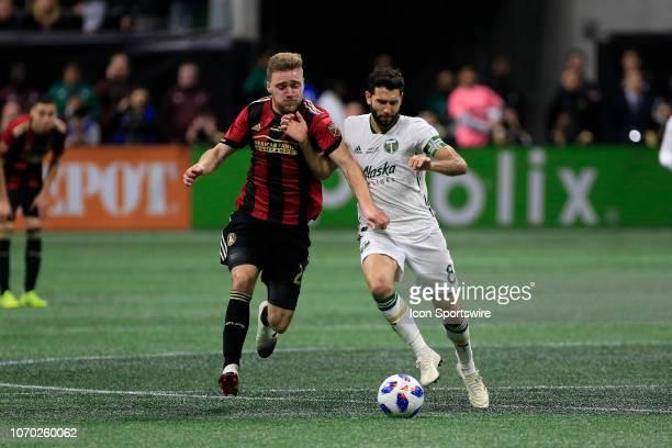 Atlanta United defender Julian Gressel attacks Portland Timbers midfielder Diego Valeri during the MLS Cup between the Atlanta United FC and the...