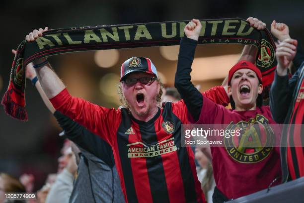 Atlanta United fans celebrate an Ezequiel Barco first-half goal during the MLS match between FC Cincinnati and Atlanta United FC on March 7th, 2020...