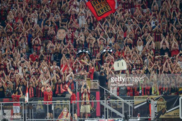 Atlanta United fans cheer and chant during the match between Atlanta United and Toronto FC on August 4th 2018 at MercedesBenz Stadium in Atlanta GA...