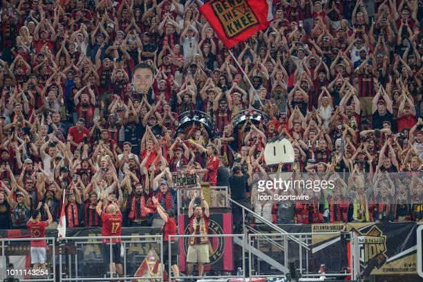Atlanta United fans cheer and chant during the match between Atlanta United and Toronto FC on August 4th 2018 at MercedesBenz Stadium in Atlanta GA...