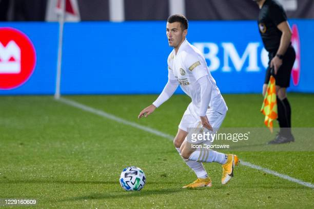 Atlanta United FC Defender Brooks Lennon controls the ball during the second half of a Major League Soccer match between the Atlanta United FC and...