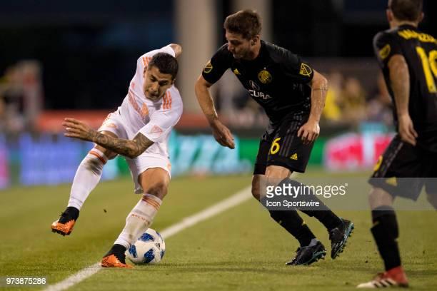 Atlanta United FC defender Franco Escobar battles with Columbus Crew SC midfielder Luis Argudo to keep the ball in bounds in the MLS regular season...