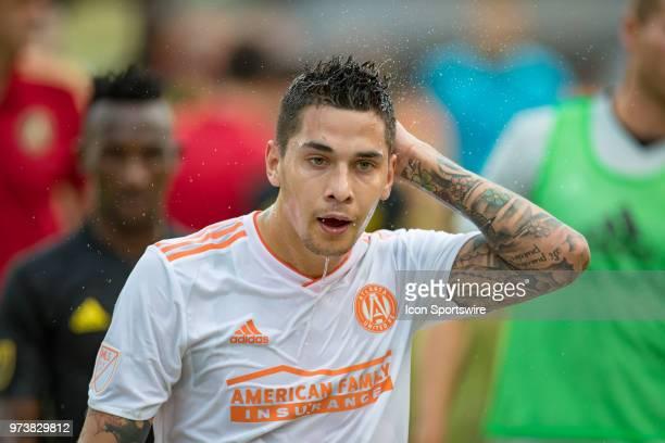 Atlanta United FC defender Franco Escobar cools off on the way to the locker room at the half in the MLS regular season game between the Columbus...