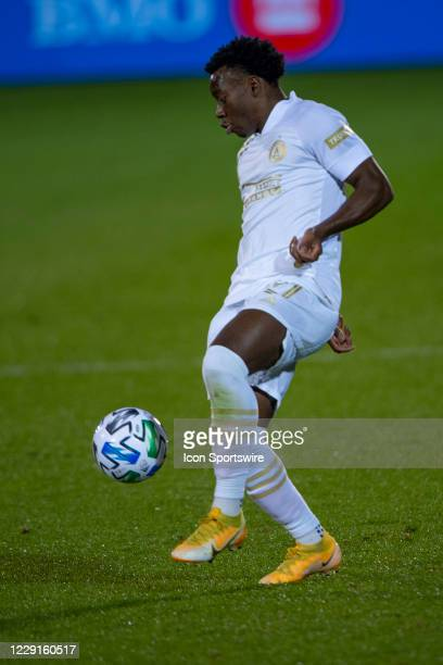Atlanta United FC Defender George Bello controls the ball during the first half of a Major League Soccer match between the Atlanta United FC and the...
