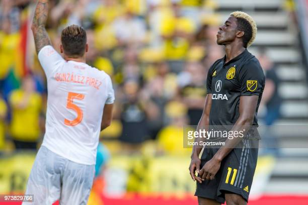 Atlanta United FC defender Leandro Gonzalez Pirez celebrates after beating Columbus Crew SC forward Gyasi Zerdes to a header in front of the goal in...