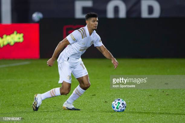 Atlanta United FC Defender Miles Robinson dribbles the ball up the field during the first half of a Major League Soccer match between the Atlanta...