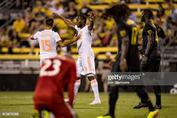 Atlanta United FC forward Hector Villalba celebrates with Atlanta United FC forward Romario Williams after scoring a goal as Columbus Crew SC...