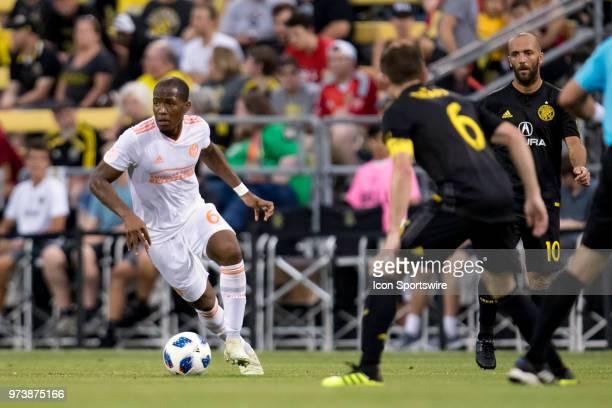Atlanta United FC midfielder Darlington Nagbe looks for an open man in the MLS regular season game between the Columbus Crew SC and the Atlanta...