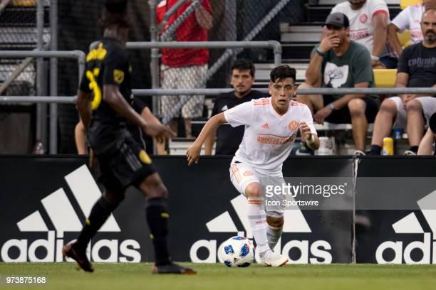 Atlanta United FC midfielder Ezequiel Barco looks for an open man in the MLS regular season game between the Columbus Crew SC and the Atlanta United...