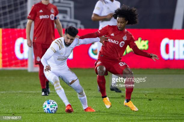 Atlanta United FC Midfielder Marcelino Moreno and Toronto FC Forward Jayden Nelson battle for the ball during the second half of a Major League...