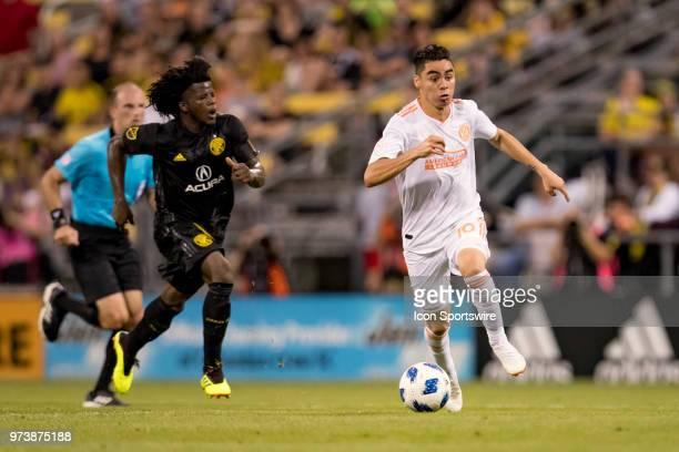 Atlanta United FC midfielder Miguel Almiron breaks free at midfield in the MLS regular season game between the Columbus Crew SC and the Atlanta...