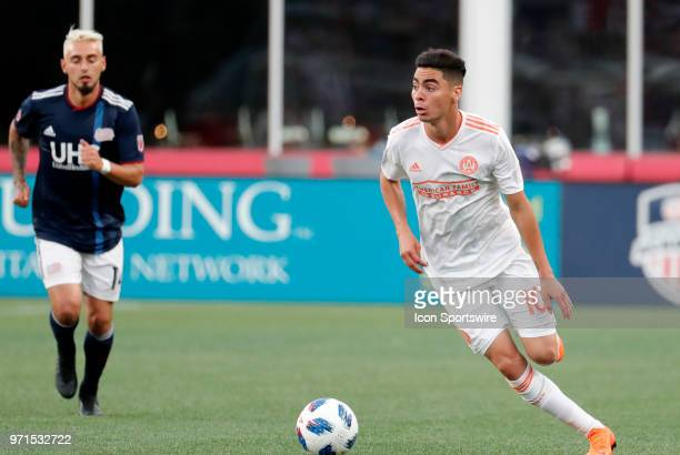 Atlanta United FC midfielder Miguel Almiron looks for options during a match between the New England Revolution and Atlanta United FC on May 30 at...