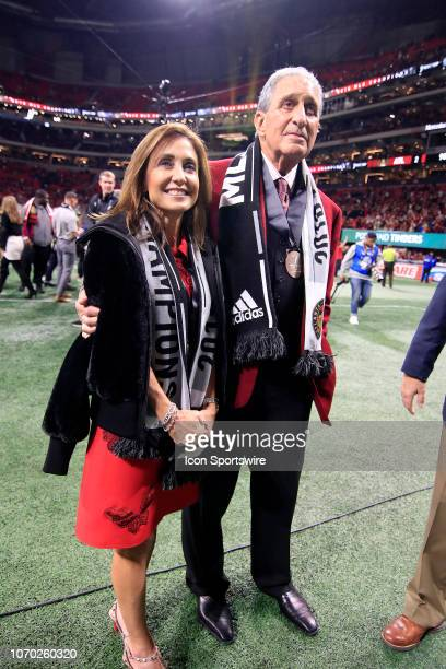 Atlanta United FC team owner Arthur Blank and his wife celebrate winning the MLS Cup over the Portland Timbers on December 8 2018 at the MercedesBenz...