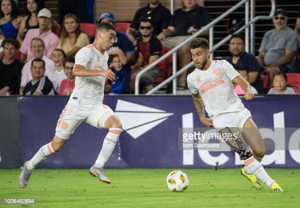 Atlanta United forward Hector Villalba and midfielder Miguel Almiron on the attack during a MLS match between DC United and Atlanta United FC on...