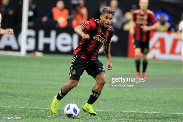 Atlanta United forward Josef Martinez pushes the ball forward during the MLS Cup between the Atlanta United FC and the Portland Timbers on December 8...