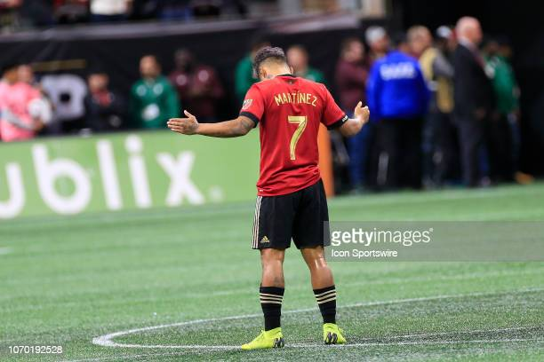 Atlanta United forward Josef Martinez takes a moment to himself prior to the MLS Cup between the Atlanta United FC and the Portland Timbers on...