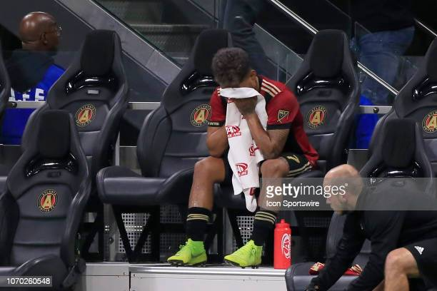 Atlanta United forward Josef Martinez wipes down after leaving the game during the MLS Cup between the Atlanta United FC and the Portland Timbers on...