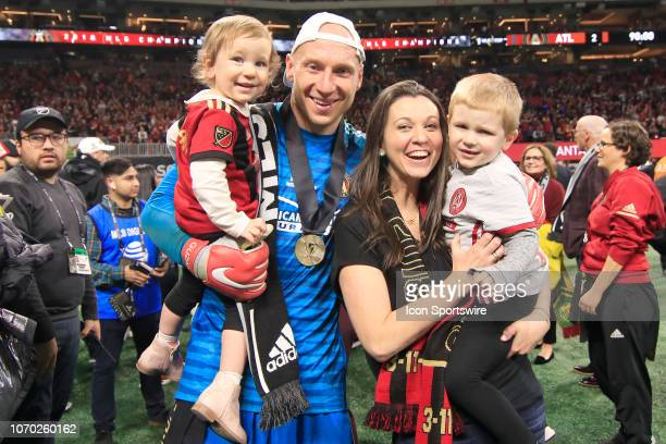 Atlanta United goalkeeper Brad Guzan and his family celebrate winning the MLS Cup over the Portland Timbers on December 8 2018 at the MercedesBenz...
