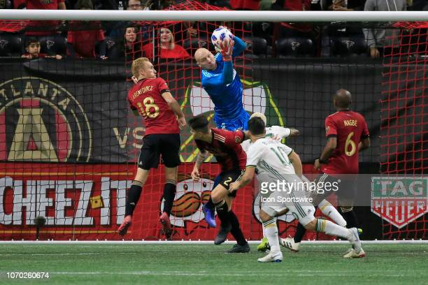Atlanta United goalkeeper Brad Guzan defends the goal during the MLS Cup between the Atlanta United FC and the Portland Timbers on December 8 2018 at...