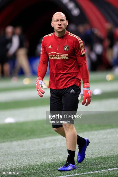 Atlanta United goalkeeper Brad Guzan during warmups prior to the MLS Cup between the Atlanta United FC and the Portland Timbers on December 8 2018 at...
