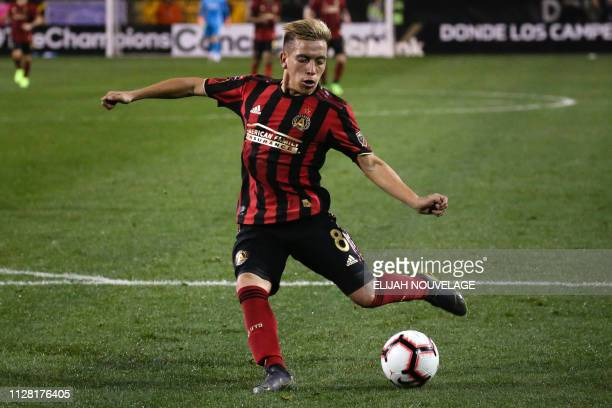 Atlanta United midfielder Ezequiel Barco shoots in the second half of the CONCACAF Champions League playoff football match between Atlanta United and...