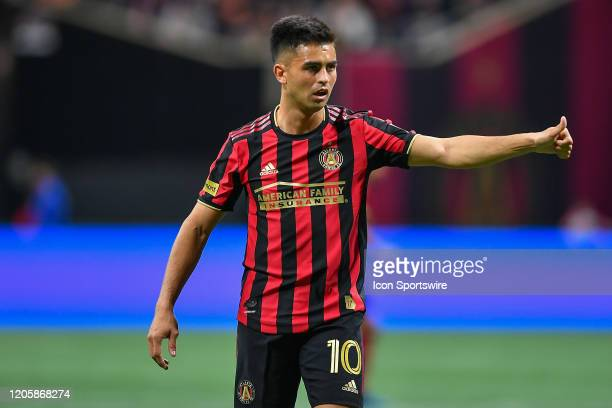 """Atlanta United midfielder Gonzalo """"Pity"""" Martinez gives a thumbs-up after a missed shot during the MLS match between FC Cincinnati and Atlanta United..."""