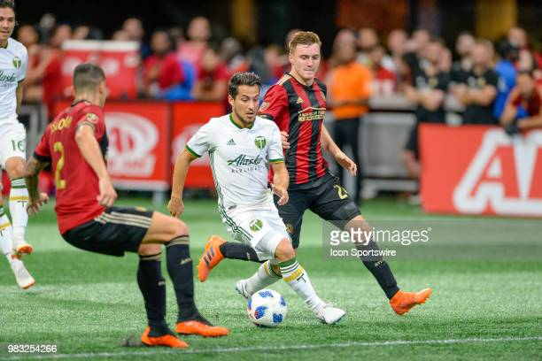 Atlanta United midfielder Miguel Almiron during a MLS match between the Portland Timbers and Atlanta United on June 24 at MercedesBenz Stadium in...