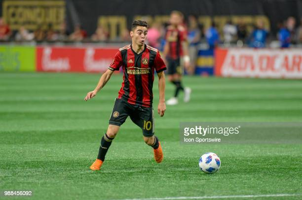 Atlanta United midfielder Miguel Almiron during an MLS match between the Orlando City and Atlanta United FC on June 30 at MercedesBenz Stadium in...